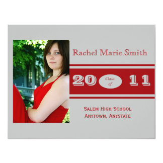 """Silver and Red Class Band Graduation 4.25"""" X 5.5"""" Invitation Card"""