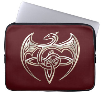 Silver And Red Dragon Trine Celtic Knots Art Laptop Sleeve