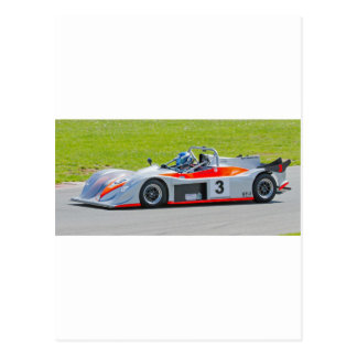 Silver and red single seater racing car postcard
