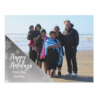 Silver and Snow Holiday Photocard Postcard