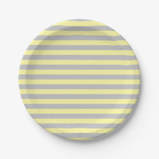 Silver and Soft Yellow Stripes Paper Plate