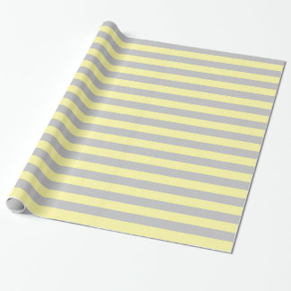 Silver and Soft Yellow Stripes Wrapping Paper