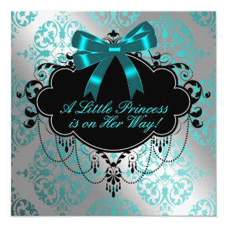 Silver and Teal Blue Princess Baby Girl Shower 13 Cm X 13 Cm Square Invitation Card