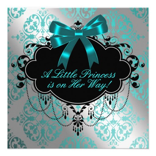 Silver and Teal Blue Princess Baby Girl Shower Custom Announcement