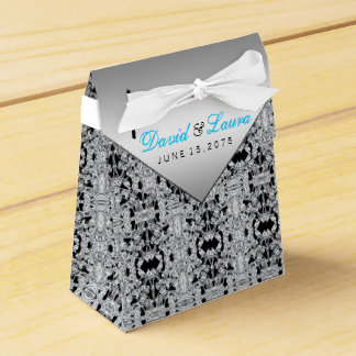 Silver and Teal Blue Wedding Favour Box