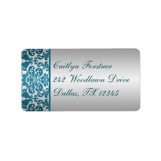 Silver and Teal Damask Return Address Label