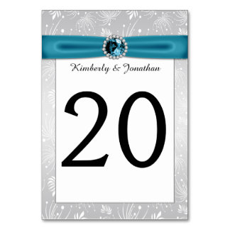 Silver and Teal Ribbon Gemstones Table Numbers