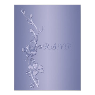 Silver and Violet Floral Reply Card 11 Cm X 14 Cm Invitation Card