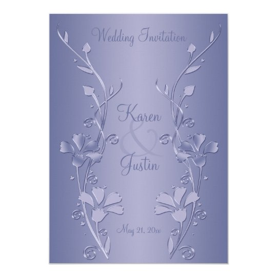 Silver and Violet Floral Wedding Invitation