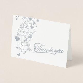 Silver and white birdcage wedding thank you card