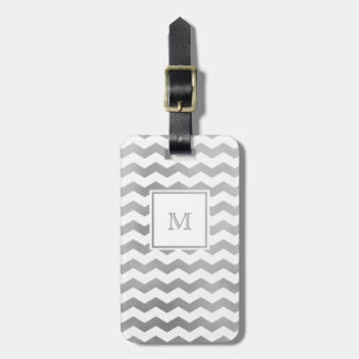 Silver and White Chevron Luggage Tag
