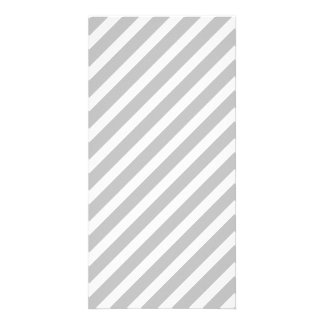Silver and White Diagonal Christmas Candy Stripes Picture Card