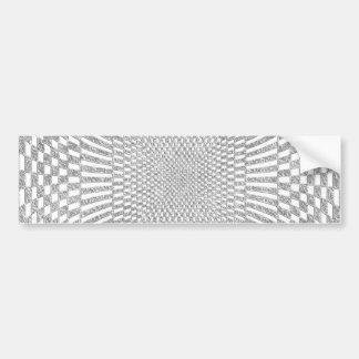 Silver and White Distorted Checkered Pattern Bumper Sticker