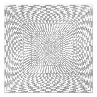 Silver and White Distorted Checkered Pattern Photo Print