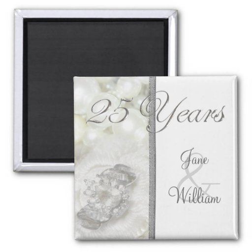 Silver and White Jewels 25th Wedding Anniversary Fridge Magnets
