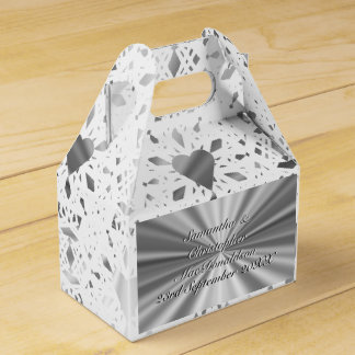 Silver and  white lace heart wedding favour box