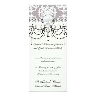 silver and white ornate damask card
