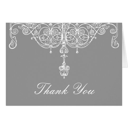 Silver and White Scrollwork Thank You Note Card