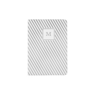 Silver and white striped Passport Holder