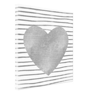 Silver and White Stripes with Heart Canvas Print