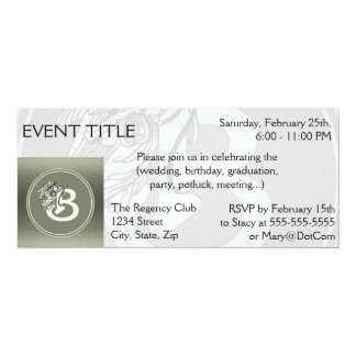 Silver Angel Monogram Letter B 10 Cm X 24 Cm Invitation Card