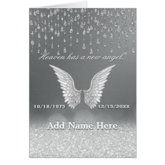 Silver Angel Tears Memorial Card