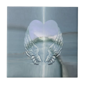Silver Angel Wings Wrapped Around a Heart Small Square Tile