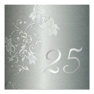 Silver Anniversary  25 Years Damask Flair 13 Cm X 13 Cm Square Invitation Card