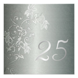 Silver Anniversary 25 Years Damask Flair Invite