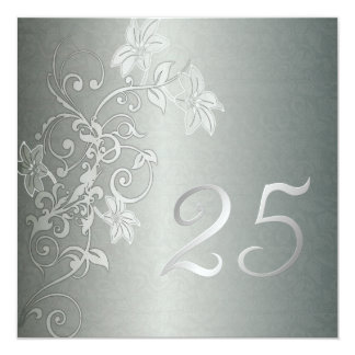 Silver Anniversary  25 Years Damask Flair 5.25x5.25 Square Paper Invitation Card