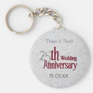 Silver Anniversary Basic Round Button Key Ring
