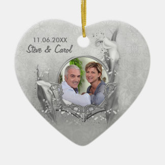 Silver Anniversary Calla Photo Keepsake Ceramic Heart Decoration