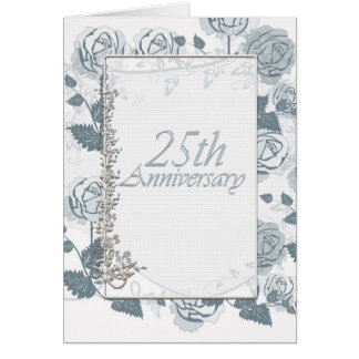 Silver Anniversary Celebrating 25 Years Roses Greeting Card