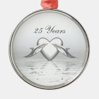 Silver Anniversary Dolphins and Heart Metal Ornament