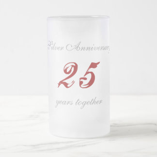Silver Anniversary Frosted Glass Beer Mug