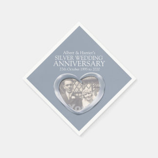Silver anniversary heart photo names napkins disposable napkin