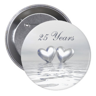 Silver Anniversary Hearts Buttons