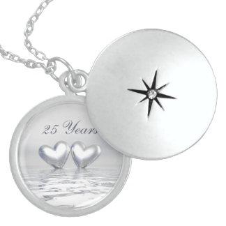 Silver Anniversary Hearts Locket Necklace