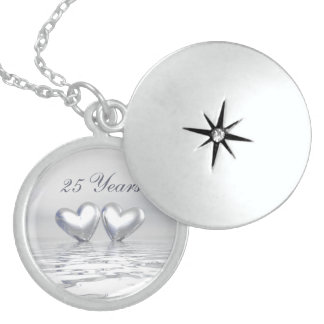 Silver Anniversary Hearts Round Locket Necklace
