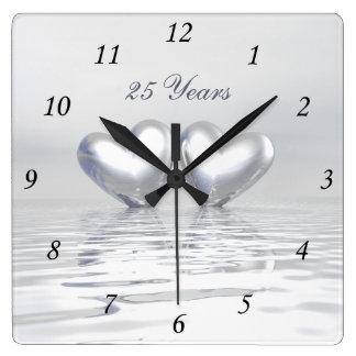 Silver Anniversary Hearts Square Wall Clock