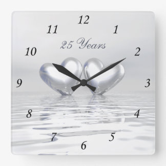 Silver Anniversary Hearts Wallclocks