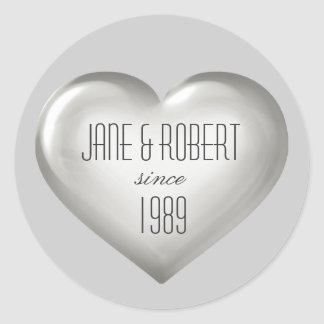Silver anniversary silver glass heart wine label