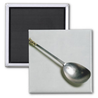 Silver apostle spoon with gold seal top, 1668 refrigerator magnets