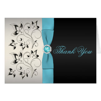 Silver, Aqua, and Black Floral Thank You Card