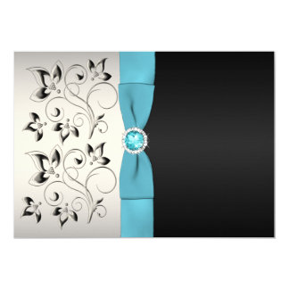 Silver, Aqua, and Black Floral Wedding Invitation