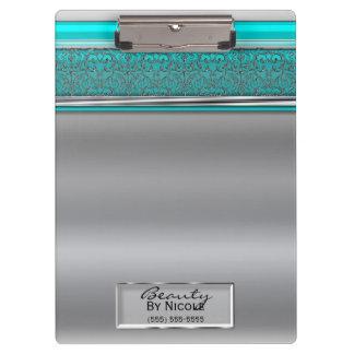 Silver Aqua Shine Elegant Chic Glam Personalized Clipboard