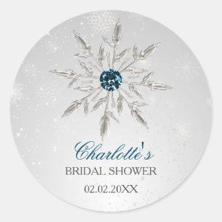silver aqua snowflakes bridal shower stickers
