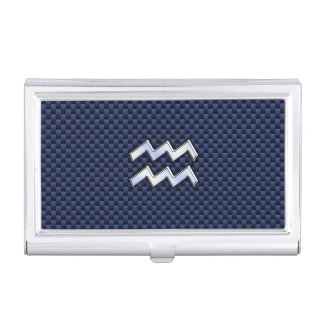Silver Aquarius Sign on Navy Blue Carbon Fiber Art Business Card Holder