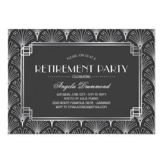 Silver Art Deco Retirement Party Card
