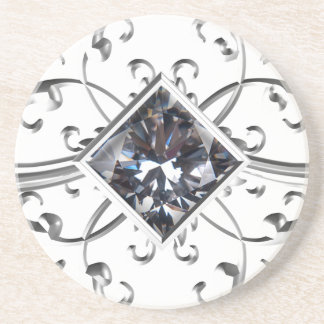 silver art diamond coaster
